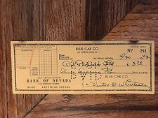 Blue Cab Company Canceled Check To Oil Products Ltd Signed In Ink 1943 Las Vegas