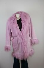 Roamans Womens Leather Pink Coat 14W Wool Trim Long Lined Winter Knee length