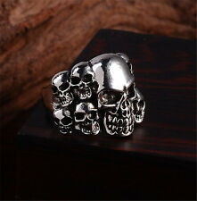 Hot men stainless steel fashion Punk 7-head skull biker big rings size10