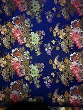 Brocade Chinese floral blossom oriental asian  Navy Fabric