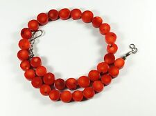 "Red Bamboo Coral Flat Round Coin Bead 18"" Necklace"