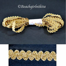 5 yards of Gold Metallic Elastic ric rac braid trim edging decoration