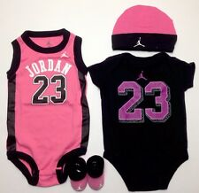 AIR JORDAN Baby GIRLS Bodysuits/Rompers, Booties & Cap 4-pcs Gift Set Pink 0-6 M