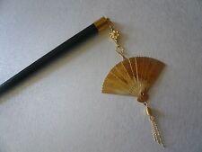"""Japanese Handmade Gold-tone Folding """"Sensu"""" Fan Kanzashi Wood Hair Stick"""