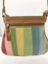 Fossil Rainbow Multi-Color Suede Tan Leather Cross-Body Shoulder Bag Handbag