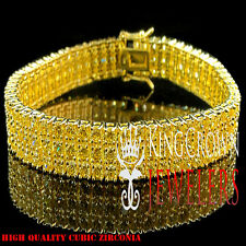 MENS LADIES 3 ROW CANARY LAB DIAMOND TENNIS BRACELET HIP HOP YELLOW GOLD PLATTED