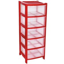 5 Plastic Storage Drawers Large Towers Chest Unit With Wheels Toys Clothes RED