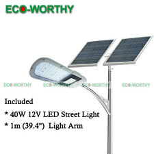 40W DC12V LED Street Light Lamp + 3'  Arm Pole Path Parking Basketball Outdoor