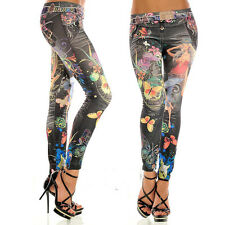 whole price women colorful painted floral imitated jeans legging free size