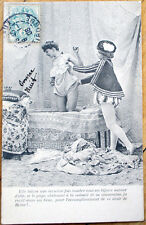 1906 Risque French Postcard: Nude/Topless Woman in Bath