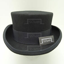 Wool Felt Topper Top Hat Men Tuxedo Short | 57cm | Black | VINTAGE x FORMAL