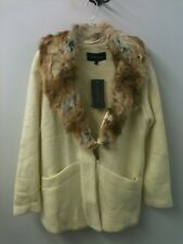 Woman's Coat L Sweater Faux Fur Collar, NWT Ivory