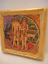Adam and Eve Christianity Catholic & Greek Orthodox Biblical Icon on Aged Wood