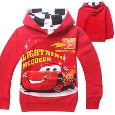 Cars Lightning McQueen Cool Hoodies Kids Boys Girls Cartoon Top #140 Age 7-8Year