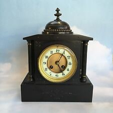 Antique Jules Rolez 1860's Black Marble French Mantel Presentation Clock