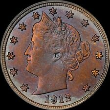 1912-D LIBERTY NICKEL 5 CENT PCGS MS64 COLORFULLY TONED BLUE/GOLD OLDER HOLDER 7