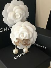 BNIB CHANEL GOLD CC & PEARL LOGO CLIP ON  EARRINGS ** HARRODS**