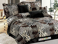 7-Pc Faux Fur Zebra Tiger Leopard Jaguar Cheetah Comforter Set Queen Brown Beige