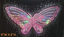 "RHINESTONE & SEQUIN PATCH PINK BUTTERFLY IRON ON TRANSFER HOT FIX   (9""W X 6""H)"