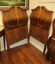Gorgeous Pair Italian Inlaid Walnut Bombe Beds As-is Rare Style C1920 Small