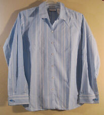 Liz Claiborne L Shirt Blouse New Cotton Blue White Long Sleeve Cuff Links  [d64]