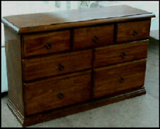 BANKSIA ASSEMBLED TIMBER LOWBOY DRESSER CHEST OF 7 DRAWERS IN WALNUT