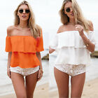 Sexy Women Ladies Summer Off Shoulder Chiffon Bikini Blouse Shirt Crop Tops Vest