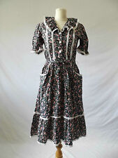 VINTAGE Cotton Dress Boho Hippy Festival Crochet Frill Floral Prairie Mini Uk 8