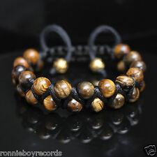 Double Layer 8mm Tigers Eye Beads Black Shamballa Adjustable Bracelet Men Women