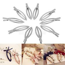 Pack of 10 Silver Tone Barrette Hair Clips Craft Beading Project DIY