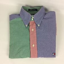 Vtg Tommy Hilfiger Shirt Size Small Multi-color Gingham Short Sleeve Button Down