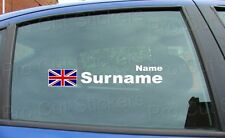 x1 Rally Race Tag Name Surname Car Window Stickers Decals Union Jack Flag ref:12