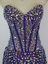 Jovani Size 2 Purple Crystal Beads Cruise Short Strapless Prom Formal $570 Knee