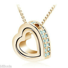 18k Gold Plated Swarovski Elements Crystal Clear Double Heart Necklace Pendant