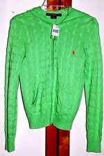 NWT RALPH LAUREN GREEN 100% COTTON CABLE KNIT ZIP HOODIE SWEATER JACKET M