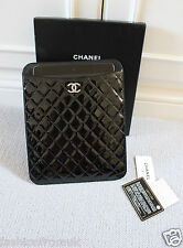 CHANEL IPAD-TABLET COVER CASE BLACK PATENT SILVER CC AMAZING!