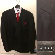 Gucci Pinstripe Double-Breasted Suit EUC VTG DB 42 Super 100s Charcoal Black 6x2