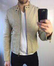 "MULBERRY MENS LEATHER JACKET SIZE 42"" M MEDIUM CREAM CAFE RACER BOMBER"