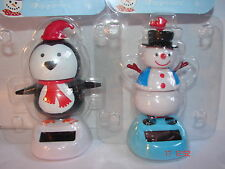 2 x SOLAR XMAS DASHBOARD DANCERS SNOWMAN AND PENGUIN