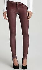 Nwt $227 J Brand 901 Super Skinny Low Rise Coated Jeans Pants ~Rust Burgundy *30