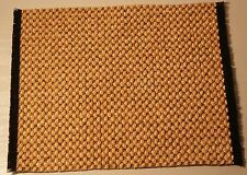 NEW 1:12 SCALE DOLLS HOUSE VELVET PILE YELLOW/BLACK BASKETWEAVE PATTERNED RUG