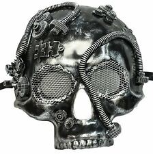 Gothic Silver & Black Skull Death Face Mask Adult Halloween Accessory