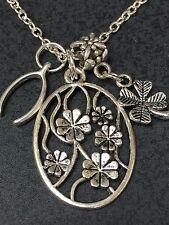 "Wishbone 4 Leaf Clover Good Luck Charm Tibetan Silver 18"" Necklace Mix J"