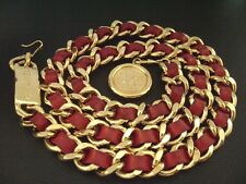 Authentic Chanel Vintage Gold & Red Leather Chain Belt- Large