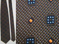 ERMENEGILDO ZEGNA CHECKER SQUARES BROWN BLUE ORANGE JACQUARD SILK TIE NECKTIE