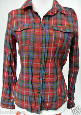 **FACTORIE** Check Boyfriend Long Sleeves Top XS 6 8 Red Green Button Down White