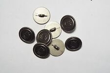8pc 15mm Crested Pewter Military Metal Blazer Coat Cardigan Button 2801
