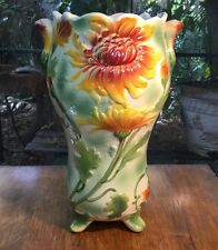 """Antique French Majolica """"Sunflower"""" Vase by St. Clement c.1890"""
