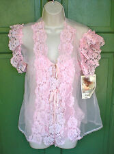 NWT BEAUTIFUL VINTAGE ALANA GALE LACY PINK BABYDOLL TEDDIE WITHN COVER UP SIZE M
