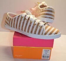 New $175 kate spade New York Lodero White Striped Cork Sneaker sz 10
